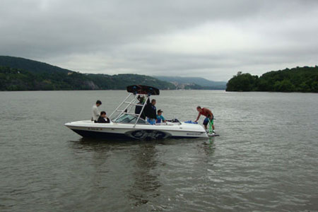 Preparing to Water Ski on the Hudson River